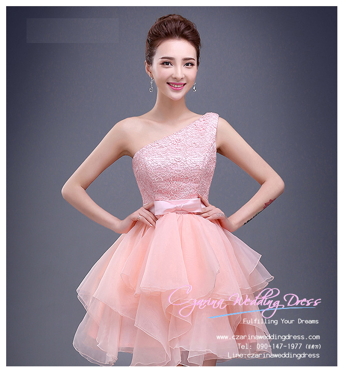 Z-0219 ชุดไปงานแต่งงานน่ารัก แนววินเทจหวานๆ สวย งามสง่า ราคาถูก ผ้าลูกไม้ สีชมพู ไหล่เดียว