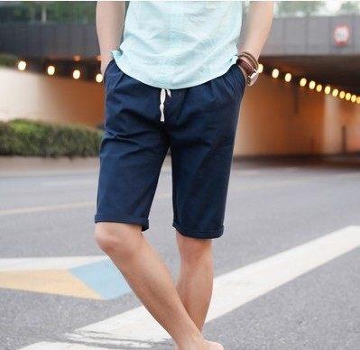 กางเกงขาสั้นเกาหลี แนวลำลอง เอวยางยืดเชือกผูก แต่งพับปลายขา มี8สี
