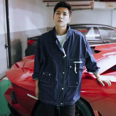 เสื้อแจ็คเก็ตยีนส์เกาหลี สีน้ำเงินเข้ม แต่งกระเป๋าเสื้อ
