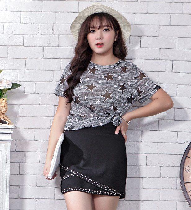 PreOrderเสื้อผ้าคนอ้วน - กระโปรงแฟชั่น สไตล์เกาหลี แต่งหมุดรอบ ซิปข้าง สีดำ