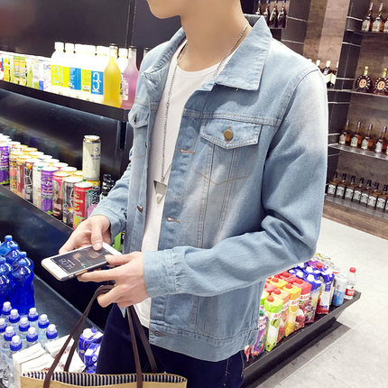 เสื้อแจ็คเก็ตยีนส์เกาหลี สีฟ้าอ่อน แต่งกระเป๋าเสื้อ