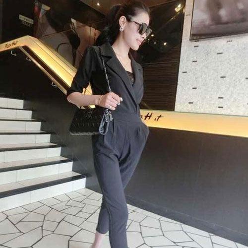++สินค้าพร้อมส่งค่ะ++Jumpsuit กางเกงขายาวเกาหลี คอปกคู่ แขนสามส่วน ผ้าฝ้ายเนื้อหนามากค่ะ ทรงสวย มี 3 สีค่ะ – สีดำ