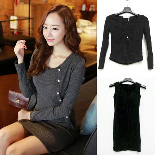 ++สินค้าพร้อมส่งค่ะ++ ชุดเดรสเกาหลี 2 ชิ้น เสื้อ cardigan แขนยาว กระดุมหน้า+เดรส แขนกุด ทรงเข้ารูปกระชับเก๋ มี 2 สีค่ะ – สีดำ
