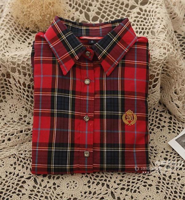 Pre Order เสื้อลายสก๊อตผู้หญิง สไตล์เกาหลี แต่งลายที่หน้าอก มี4แบบ