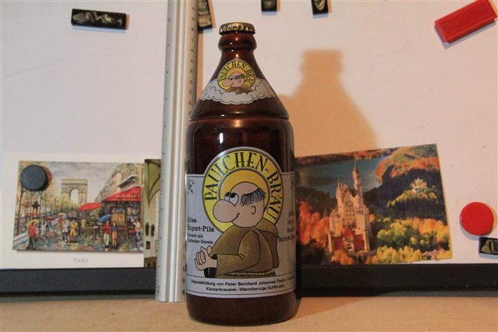 M0408 แก้วเบียร์เยอรมันโบราณ รูปขวดเบียรยุโรป Paulchen-BR'A'U - ราคารวมค่าจัดส่ง EMS แล้ว