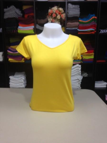 """เสื้อยืดคอวี สีเหลืองสด size """"M"""""""
