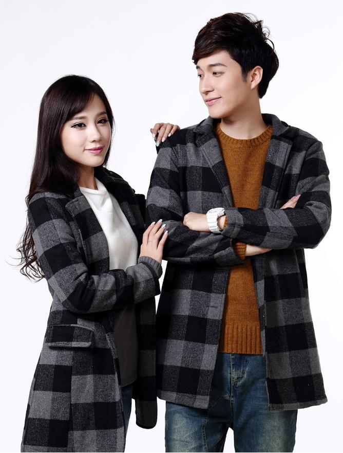 Pre Order ชุดคู่รักเกาหลี เสื้อโค้ทแขนยาวลายสก็อต คอปก ดีไซส์หรูหรา <มี3สี>