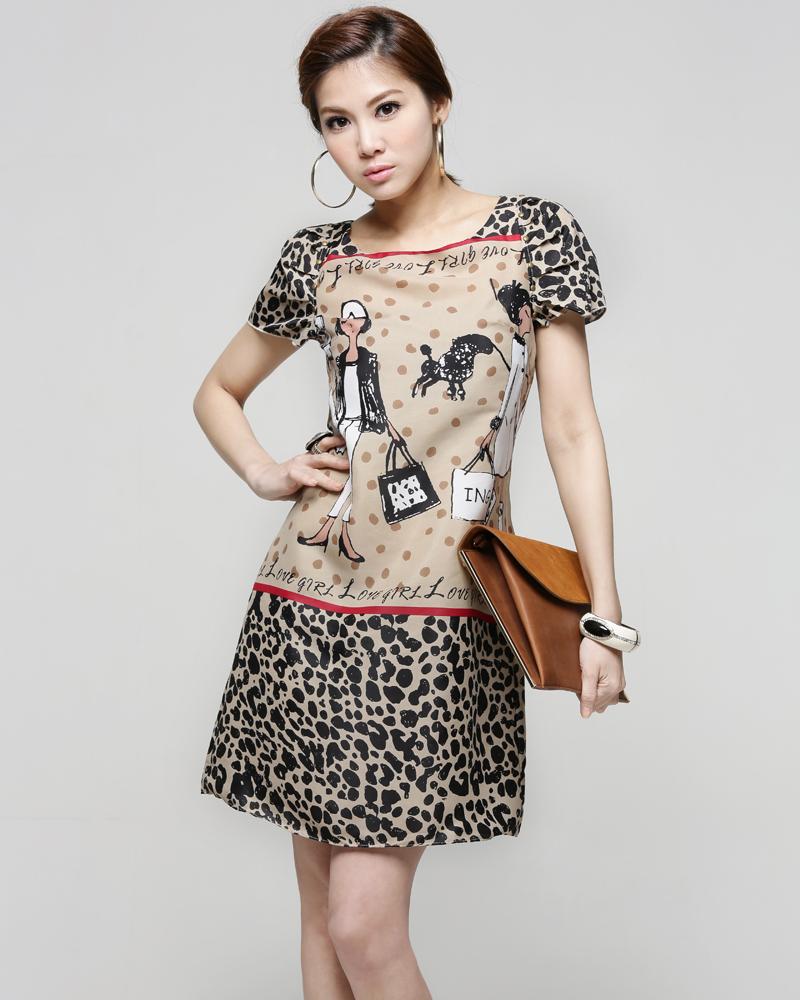 ++เสื้อผ้าไซส์ใหญ่++* Pre-Order* ชุดเดรสเกาหลีไซส์ใหญ่พิมพ์ลายเสือสวยเก๋จ้า