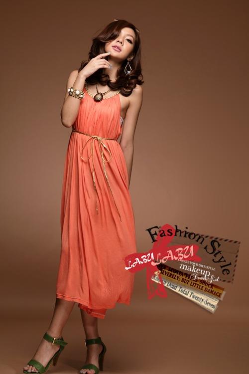 ++สินค้าพร้อมส่งค่ะ++ชุดเดรสเกาหลี คอ U ผ้า cotton สายเดี่ยว ลำตัวกว้างมาก + เข็มขัดดิ้นเป็นเกลียวเล็กๆ 1 เส้น - สีส้ม