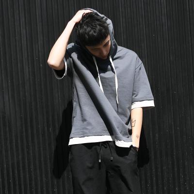 เสื้อฮู้ดแจ็คเก็ตเกาหลี แขนห้าส่วน ทรงหลวม แต่งขอบ มี2สี