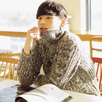 เสื้อกันหนาวแขนยาวเกาหลี คอสูง ผ้าไหมพรมบิดถัก มี2สี