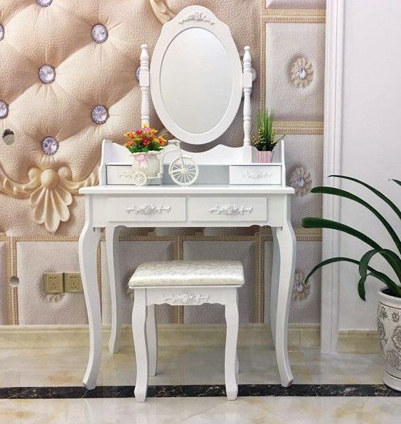 Pre Order โต๊ะเครื่องแป้งเจ้าหญิงราคาถูก เซ็ท 2 ชิ้น ได้โต๊ะเครื่องแป้ง+เก้าอี้ สไตล์วินเทจ สีขาว