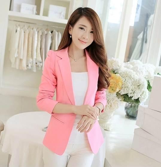 Pre Order เสื้อสูทผู้หญิงเกาหลี แขนยาวคอปก ไหล่เสริมฟองน้ำ แต่งกระเป๋าข้าง มี3สี