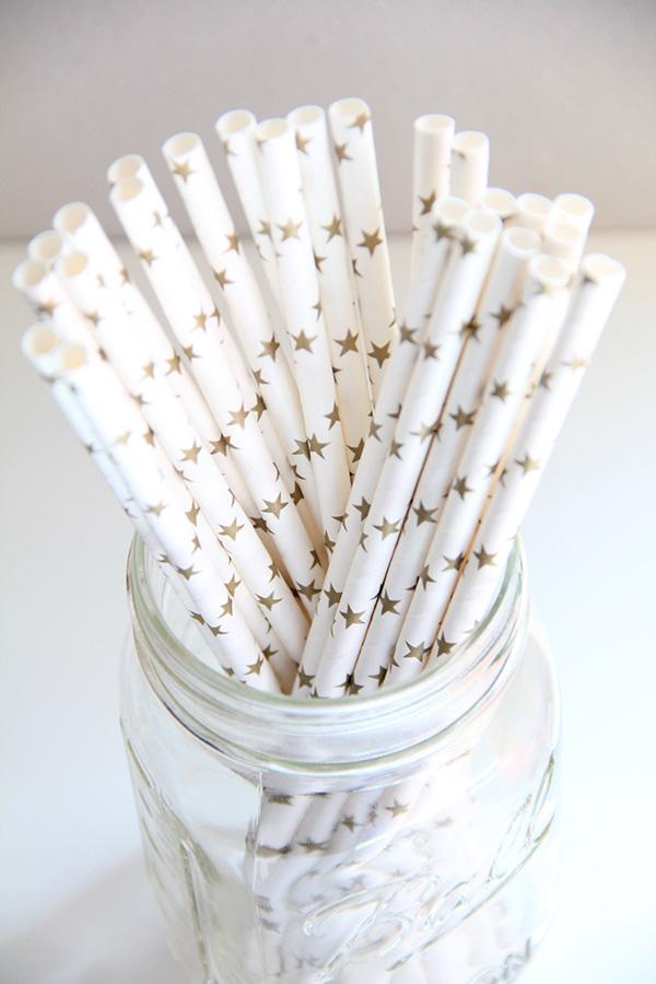 Paper Straws in Gold Stars on White