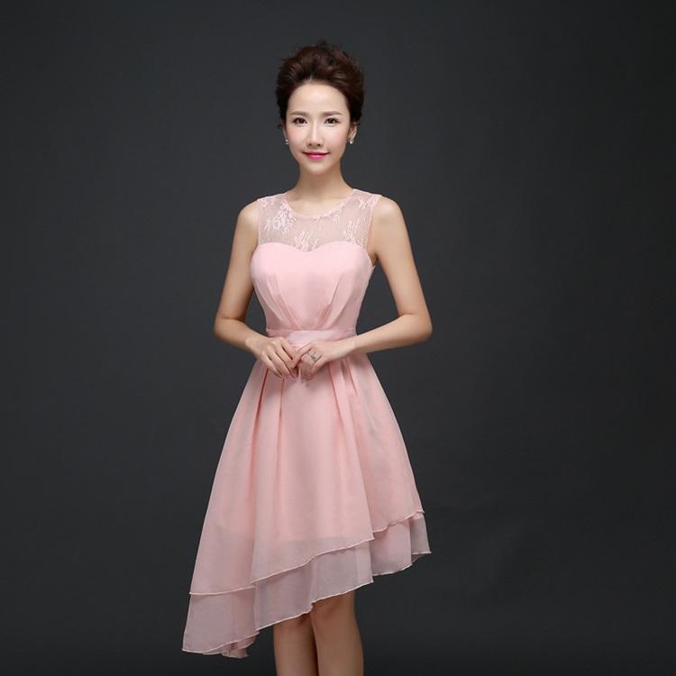 ชุดราตรีสั้น ตัวชุดผ้าชีฟองเนื้อดี สีชมพูโอรส แขนกุด