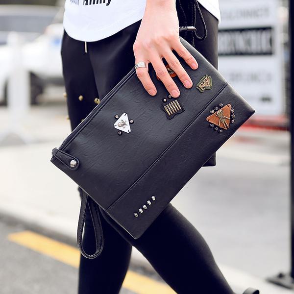 Pre-order กระเป๋าถือครัทช์ผู้ชาย แฟชั่นเกาหลี รหัส Man-8764 สีดำ