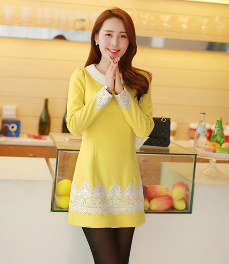 ชุดเดรสสั้น Brand Bluearly แท้ 100% ชุดเดรสออกงาน ชุดเดรสทำงาน สีเหลือง ผ้าฝ้ายอย่างดี คอปก แขนยาว