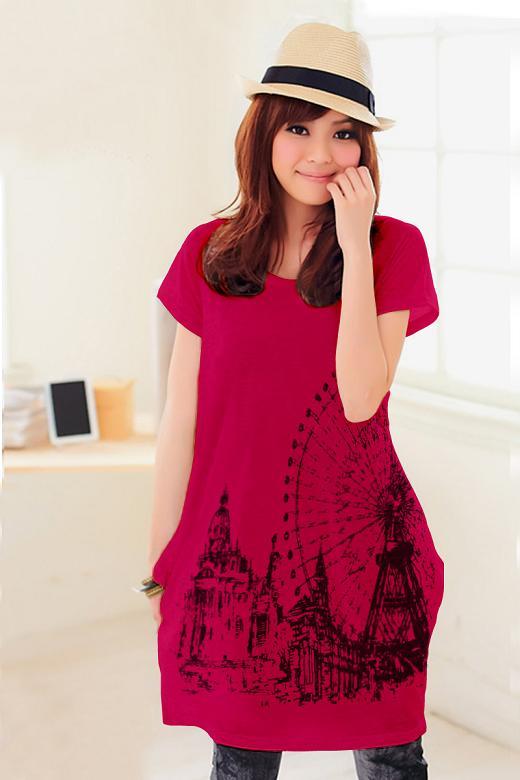 เสื้อยืดแฟชั่นตัวยาว (ผ้าเนื้อนุ่ม) ลาย จิงโจ้ สีชมพูบานเย็น