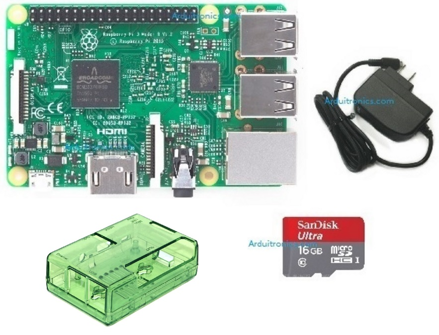 Raspberry Pi 3 Model B (Rpi Kit 4) ของแท้ UK (New Model 2016) Green Clear Case