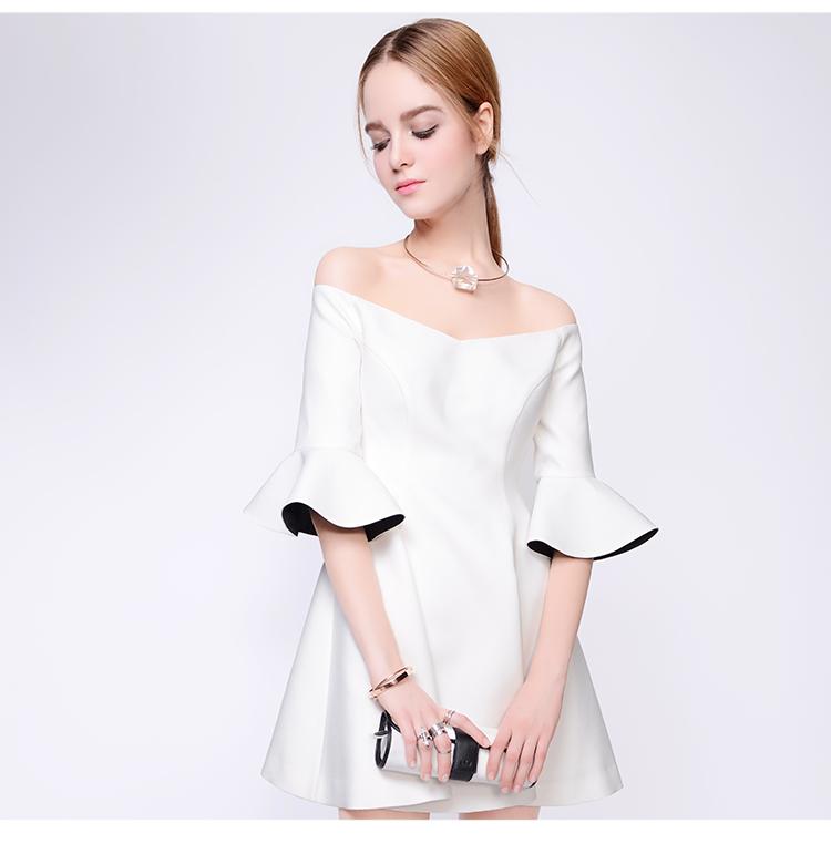 ชุดเดรสสวยๆ ผ้าคอตตอนทอผสม polyester สีขาว