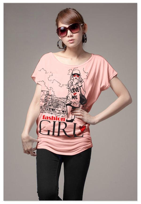 เสื้อยืดแฟชั่น ผ้านุ่ม ลาย Fashion Girl สีโอรส