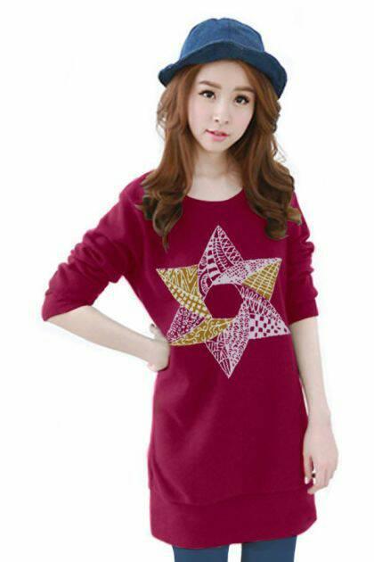 เสื้อยืดแขนยาว ตัวยาว / แซกสั้น ผ้านุ่ม ลาย Star สีชมพูบานเย็น