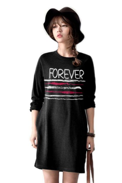เสื้อยืดตัวยาว /แซกสั้น ผ้านุ่ม แขนยาว ลาย Forever (สีดำ)