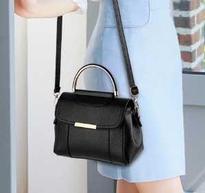 Pre-order กระเป๋าถือหรือกระเป๋าสะพายข้าง เรียบง่ายน่ารักๆ แฟชั่นเกาหลี รหัส KO-369 สีดำ