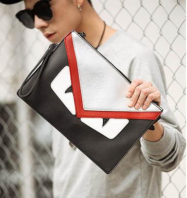 Pre-order กระเป๋าคลัทซ์ผู้ชาย ใส่ tab ipad 10 นิ้ว มอนสเตอร์คลัทช์แฟชั่นเกาหลี Man-8682-1 สีแดง ตาคุ่