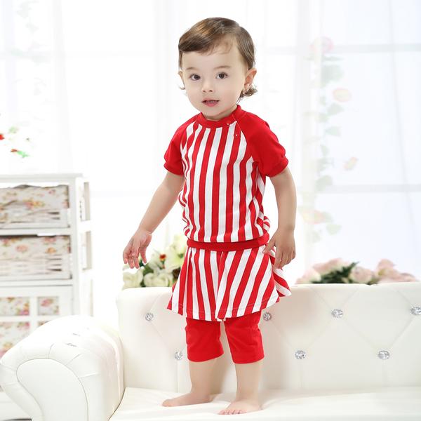พร้อมส่ง เสื้อผ้าเด็กทารก เพศหญิง 1-2 ปี ราคาส่งจากโรงงาน culottes รหัส H2020 สีแดง ลายตั้ง 1 ชุด ไซร์ 80 (ส่วนสูง 66-73 cm )