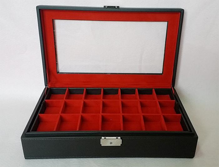 กล่องใส่พระ 2 ชั้น จำนวน 42 ช่อง งานหนัง (พร้อมส่ง) สีดำออกน้ำตาล