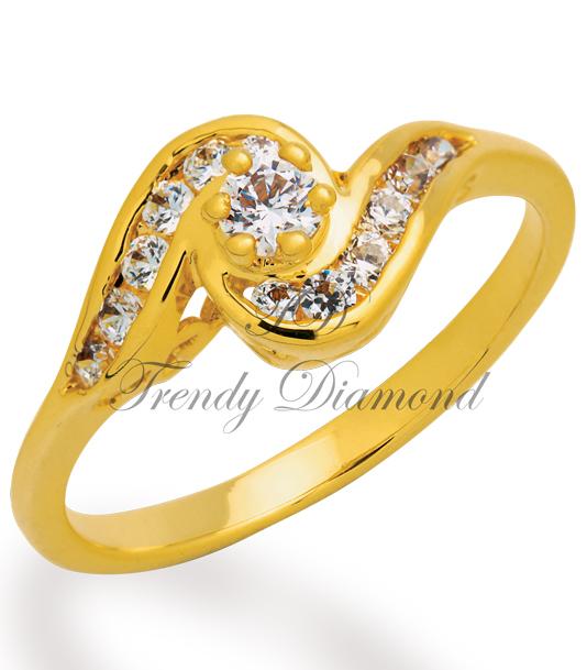 แหวนเพชร แหวนก้นหอย สีทอง