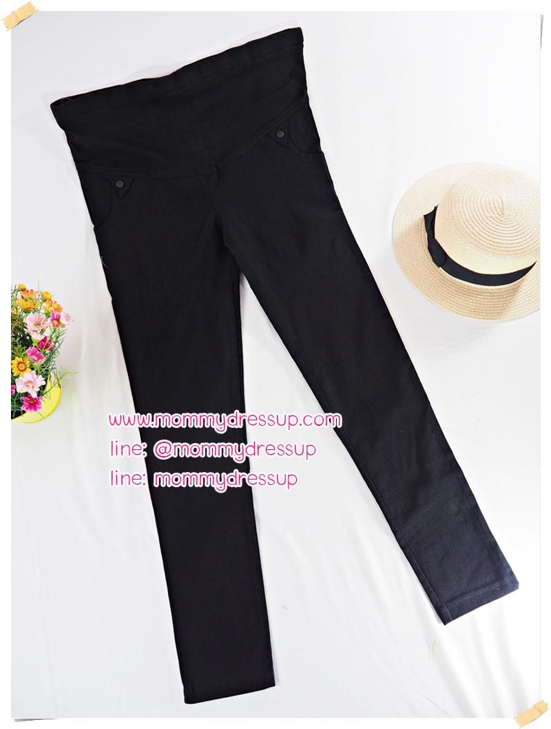 กางเกงขายาวทำงานสีดำขาเดฟ แต่งขอบสามเหลี่ยมตรงกระเป๋าหน้า ผ้านิ่มใส่สบายค่ะ เอวปรับระดับได้ตามอายุครรภ์ น่ารักมากๆค่ะ