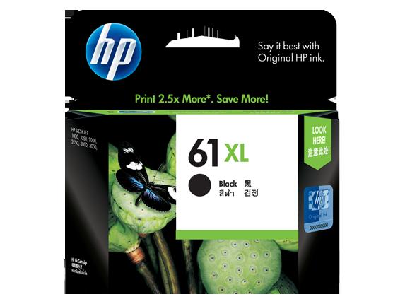 HP 61XL ตลับหมึกอิงค์เจ็ท สีดำ High Yield Black Original Ink Cartridge (CH563WA)
