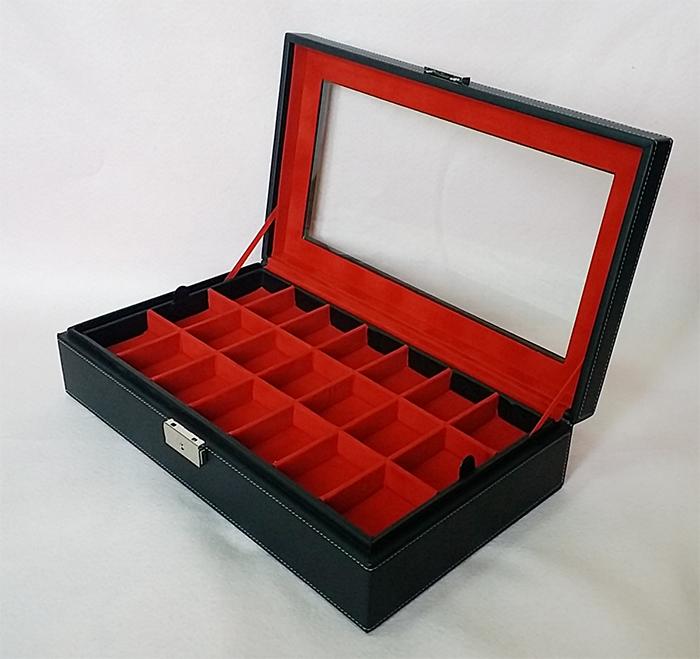 กล่องใส่พระ 2 ชั้น จำนวน 42 ช่อง งานหนัง (พร้อมส่ง) สีดำ