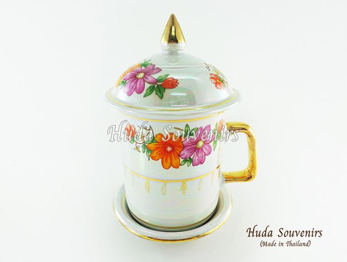 ของที่ระลึก แก้วมัคเบญจรงค์ ลวดลายดอกไม้ ผิวเคลือบมุข สินค้าพร้อมส่ง (ราคาไม่รวมกล่อง)