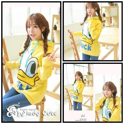 เสื้อแขนยาวแฟชั่นเกาหลี แบบมีฮู๊ด ลายDonald Duck – สีเหลือง