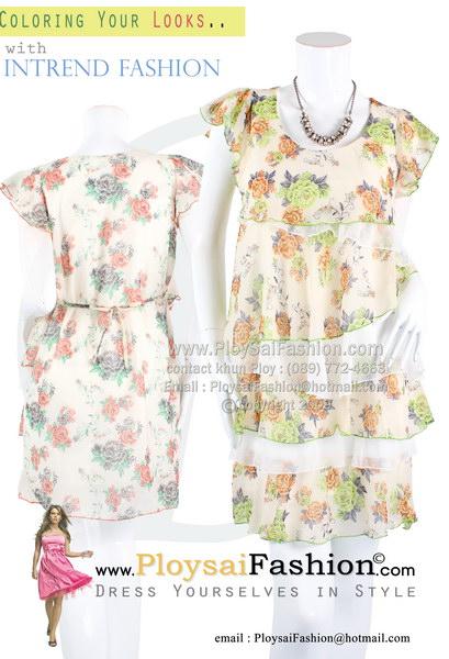 pd2741 - เดรสสั้น ผ้าซีฟอง พิมพ์ลายดอกโทนเขียว ด้านหน้าแต่งระบายเป็นชั้น สลับกับผ้าพื้นสีขาว ซับในทั้งตัว สวยน่ารักสุดๆเลยค่ะ