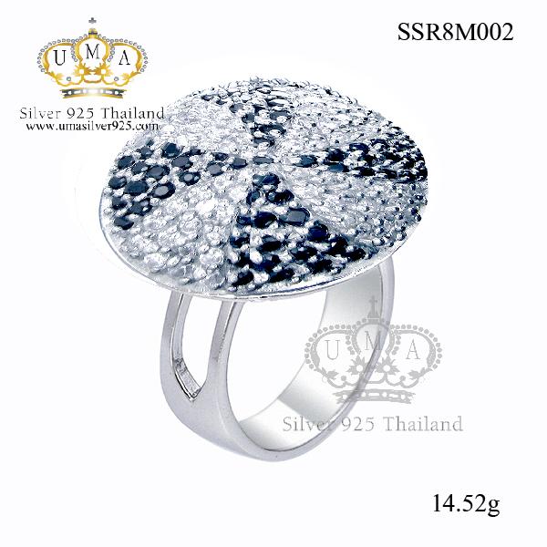 แหวนเงิน ประดับเพชร CZ แหวนทรงกลมนูน ออกแบบสวยขาดแบบเต็มไม้เต็มมือดั่งกับนางพญา ดีไซน์ใหญ่อลังการ งานเนี๊ยบละเอียดสุดๆ ต้องอาศัยช่างผู้ชำนาญ