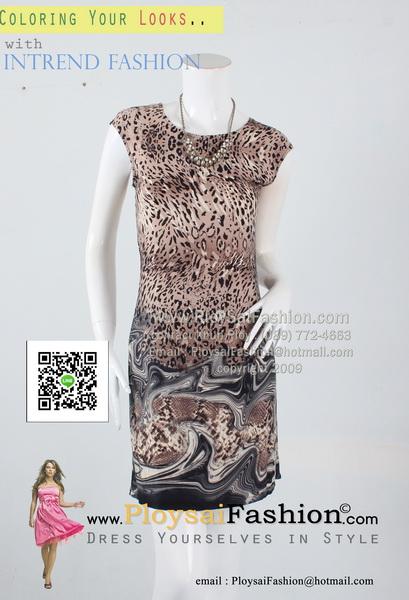 pd2626 - เดรสสั้นแขนล้ำ ผ้าเกาหลีพิมพ์ลายเสือโทนน้ำตาล ซับในแยกชิ้น สวยน่ารักค่ะ