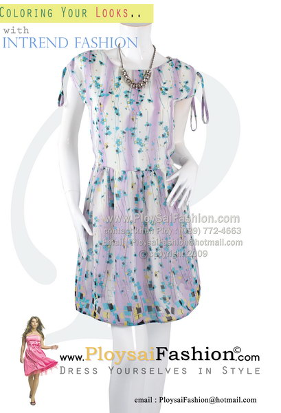 pd2757- ชุดเดรสสั้นผ้าซีฟองพิมพ์ลายโทนม่วง ช่วงไหล่ปรับรูด ซับในทั้งตัว สวยๆน่ารักๆค่ะ