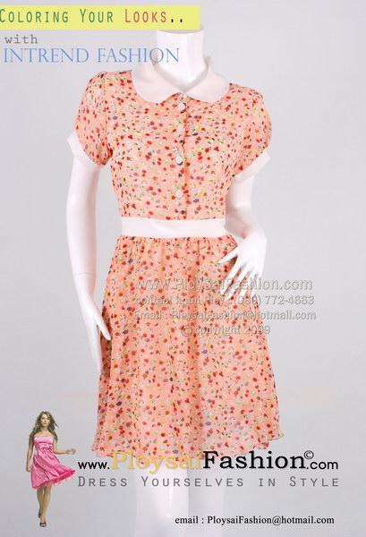 pd2490 - ชุดกระโปรง ผ้าซีฟองสีชมพูโอรสพิมพ์ลาย คอปก แขนตุ๊กตา ซับในทั้งตัว สวยน่ารักสไตล์คุณหนู