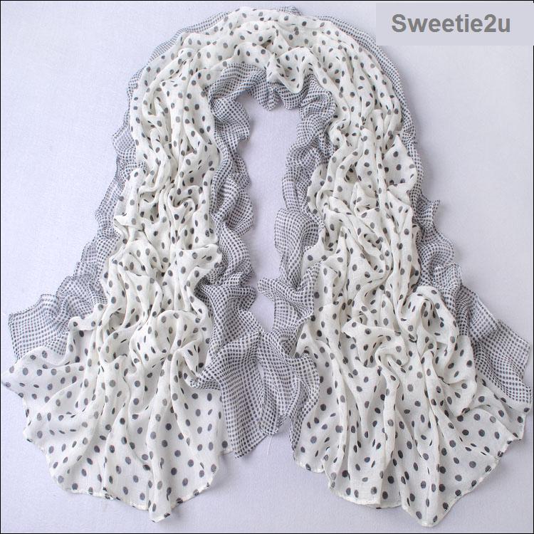 ผ้าพันคอผ้าฝ้าย สีขาวดำลายจุด ( รหัส P293 )