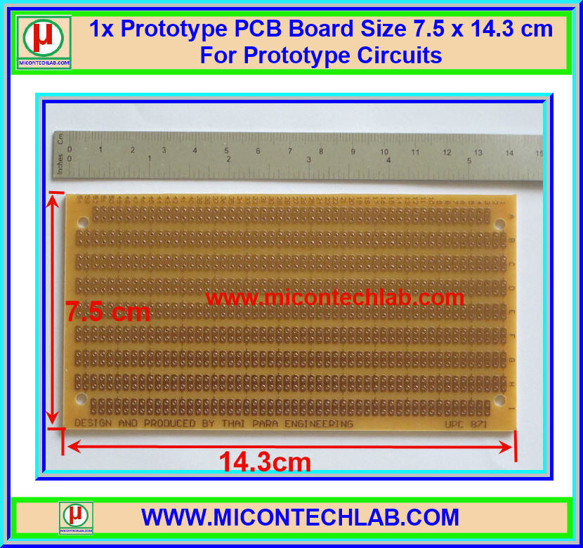 1x Prototype PCB Board Size 7.5 x 14.3 cm For Prototype Circuits