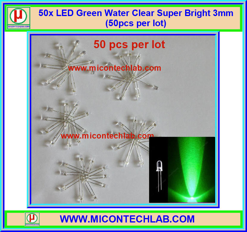 50x LED Green Water Clear Super Bright 3mm (50pcs per lot)
