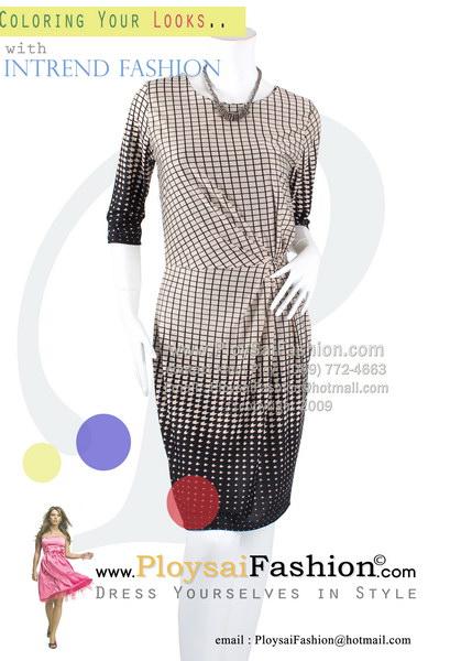 hd1459 - ชุดเดรส ผ้าเกาหลีสีเนื้อพิมพ์ลายตารางสีดำ แขนสามส่วน ช่วงเอวจับจีบด้านข้าง ซับในทั้งตัว สวยเรียบร้อยดูดีค่ะ
