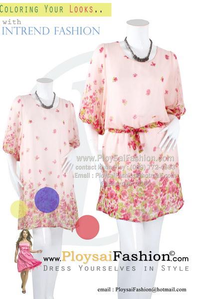pd2632 - ชุดแซกสั้น ผ้าซีฟองสีชมพูอ่อนพิมพ์ลายเชิงลายดอก แขนตุ๊กตาทรงโต ซับในทั้งตัว ผ้าผูกเอวแยกชิ้น สวยหวานน่ารักค่ะ