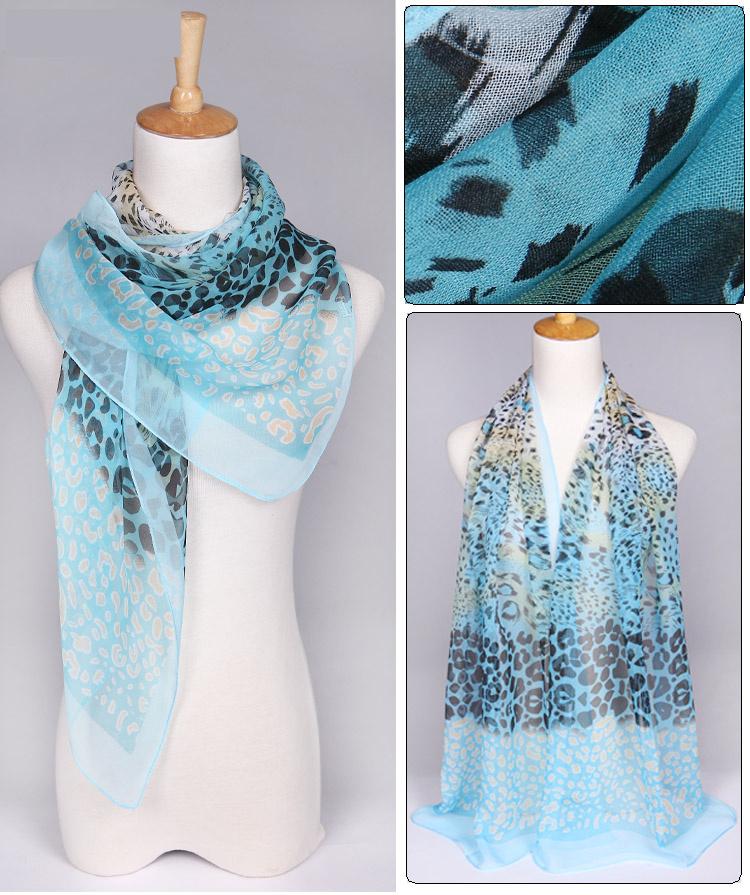 ผ้าพันคอชีฟอง Muticolor เสือดาวสีฟ้า