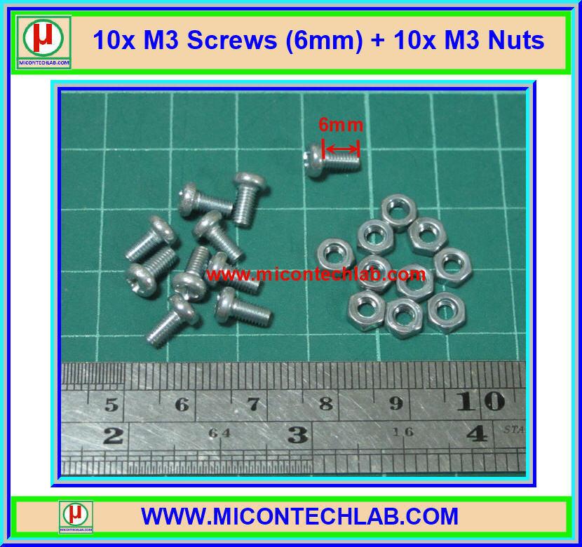 10x สกรูหัวกลม M3 ยาว 6 มม. +น็อตตัวเมีย (M3* 6mm Screws)(M)