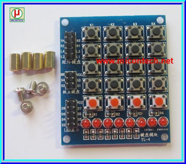 Keypad 4x4 Switches LED module